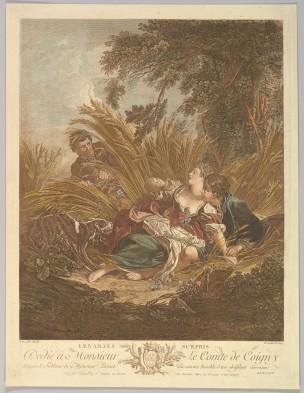 Boucher 1750 Les amans surpris gravure de Gaillard