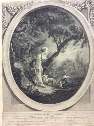 Boucher 1765 L'arrivee du courrier graveur-jacques-firmin-beauvarlet