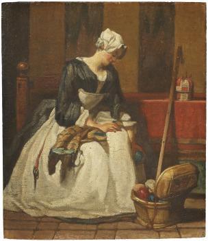 Chardin C L ouvriere en tapisserie 1733-1735 Stockhom Nationalmuseum