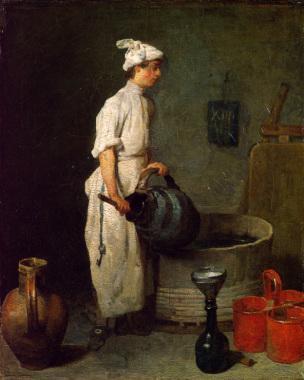 Chardin E Un garçon cabaretier qui nettoie un broc 1738 hunterian art gallery glasgow