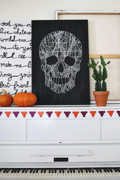 décoration murale tissage cordelette panneau tête de mort