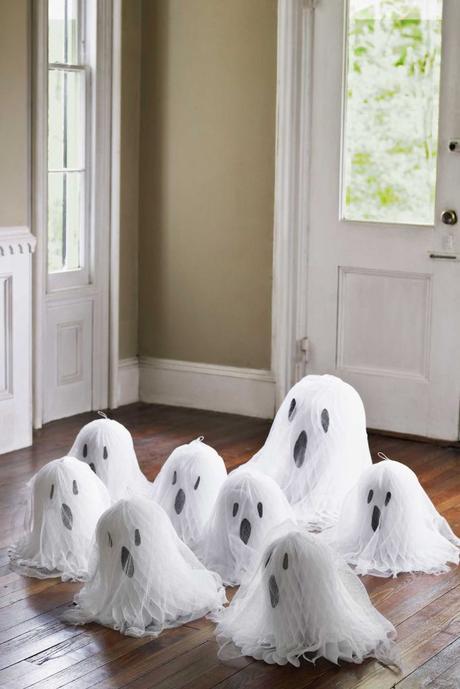 déco diy halloween facile fantôme papier tule idée - blog déco - clem around the corner