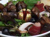 Salade d'Automne,gésiers magrets canards séchés,figues,raisins*