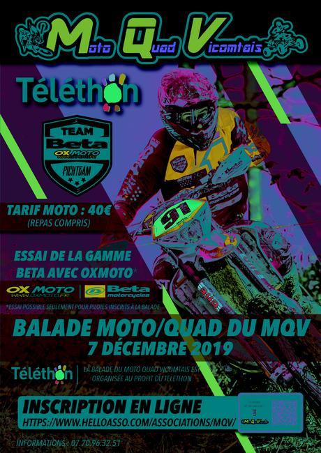 Balade moto-quad Téléthon le 7 décembre 2019 à La Chaize-le-Vicomte (85)