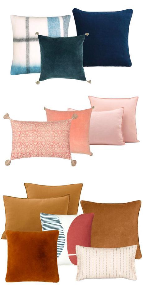 comment choisir ses coussins d'intérieur assortiment harmonie dégradé couleur camaïeu - blog déco - clem around the corner