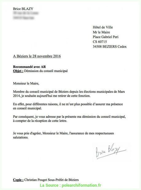 Local Exemple Lettre Demission Conseil Municipal Lettre ...