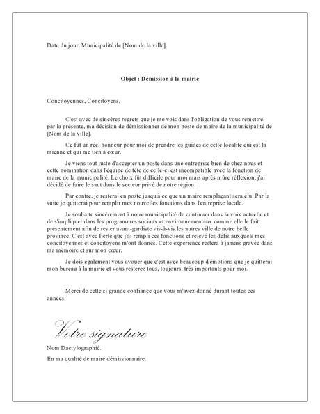 Lettre de démission pour la mairie – Lettre de Démission