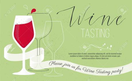 Carte d'invitation de dégustation de vin mignon. Illustration vectorielle