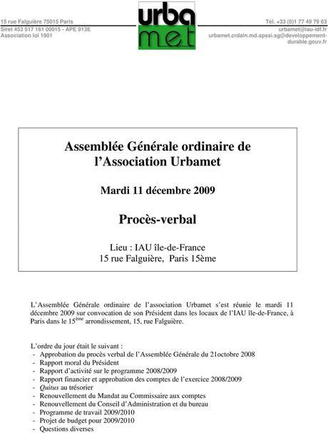 Assemblée Générale ordinaire de l Association Urbamet ...