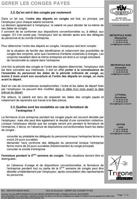 GERER LES CONGES PAYES - PDF