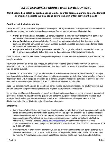 Formulaire Certificat médical relatif au droit au congé ...