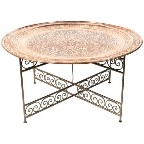 metal tray coffee table round metal tray table on iron base for sale