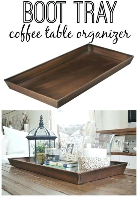 metal tray coffee table use the target smith copper boot tray for coffee table display plants lantern vase candle books photos etc in it
