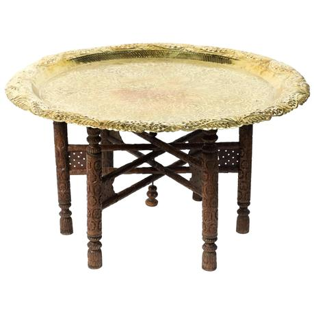 metal tray coffee table engraved round polished brass tray coffee table on wooden stand for sale