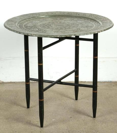 metal tray coffee table antique copper tinned silver tray on folding stand amazing finely hand chiselled very fine