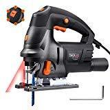 Scie Sauteuse, Tacklife 800W 3000SPM, Équipé de Guide Laser, 6 Lames, Angle Max 45°, 6 Vitesses réglables | PJS04A