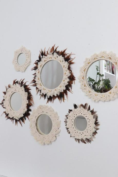 mur miroir macramé plume juju hat tendance de l'accumulation décoration murale
