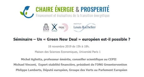 [Evénement] « Un Green New Deal européen est-il possible ? » le 18 novembre 2019 à Paris