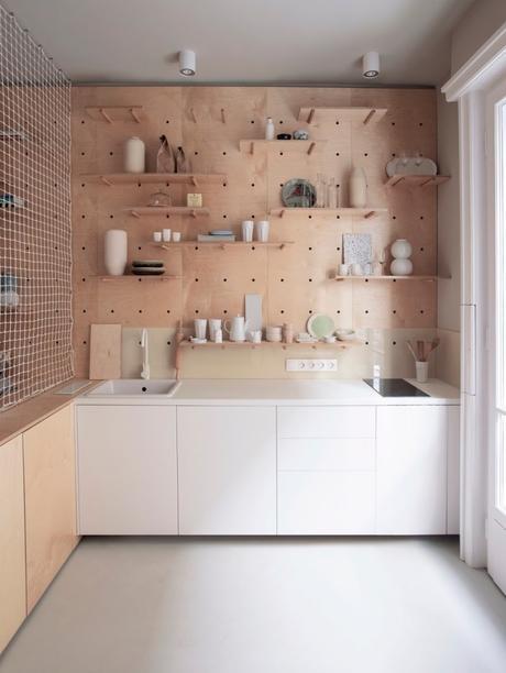 clem around the corner studio de 30m2 espace cuisine mobilier bois naturel marron blanc