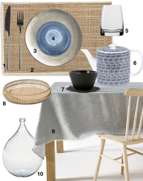 Ma sélection déco pour un brunch maison shopping liste nappe assiette vase plateau verre tasse théiere - blog déco - clemaroundthecorner