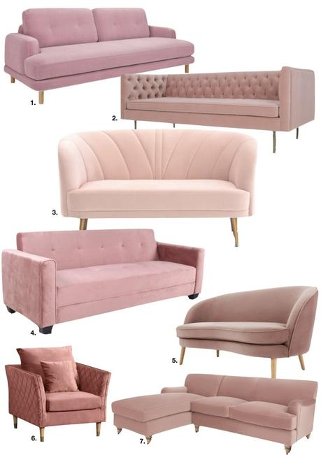 déco rose blush salon canapé velours style vintage scandi boutonné matelassé - blog décoration - clem around the corner