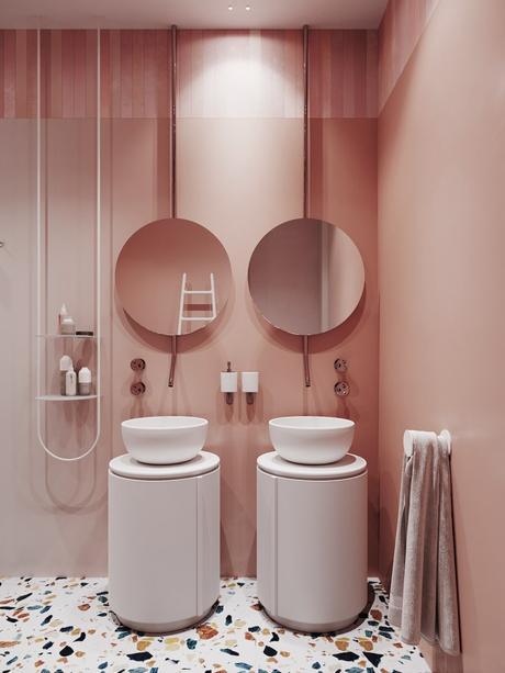 rose blush salle de bain terrazzo double lavabo - blog déco - clem around the corner