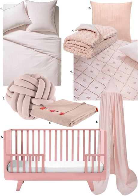 rose blush chambre lit bébé voile plaid coussin couleurs douces - blog déco - clem around the corner