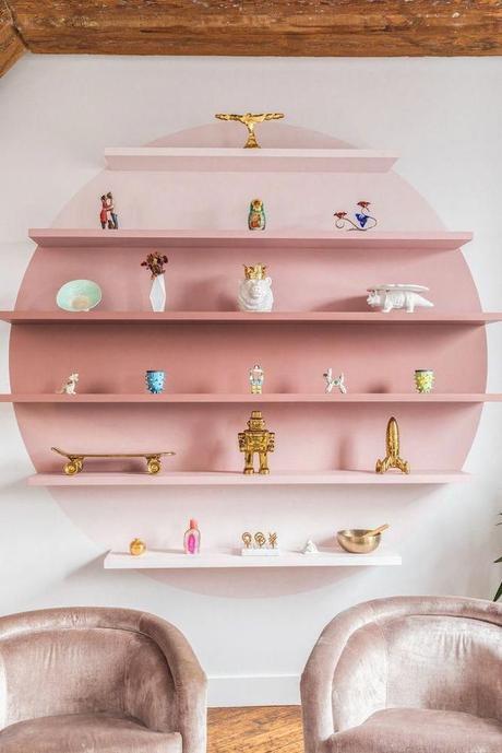 rose blush salon étagère tie and dye style vintage - blog dèco - clem around the corner