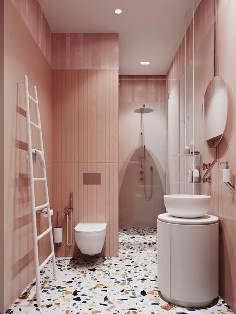 rose blush salle de bain terrazzo sol sèche serviette échelle blanche - blog déco - clem around the corner
