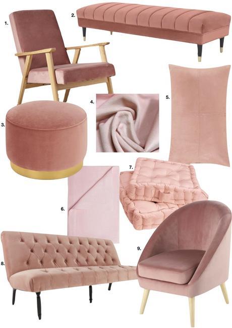 rose blush salon intérieur sobre et élégant style vintage scandi - blog déco - clem around the corner