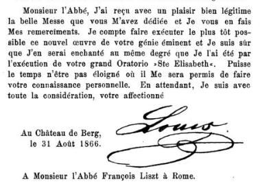 Une lettre de Louis II de Bavière à Franz Liszt