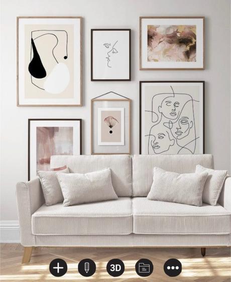 canapé velours cotelé bois mur de cadre dessin one line visage art mur