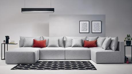 salon gris comment bien choisir son canapé modulable panoramique en u design pas cher