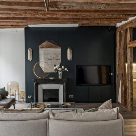 déco en bois salon meuble noir canapé marron taupe laiton - blog déco - clem around the corner