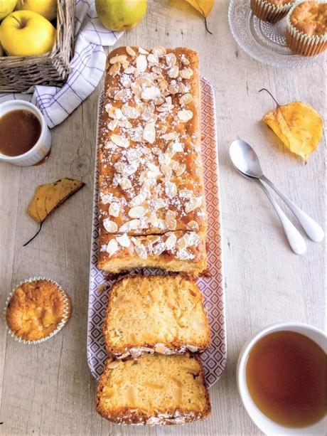 Cake moelleux aux pommes et poires caramélisées