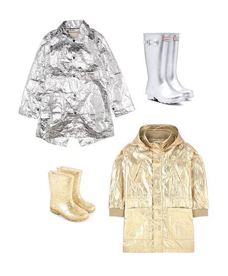 Vêtements de pluie pour enfant - argent et d'or