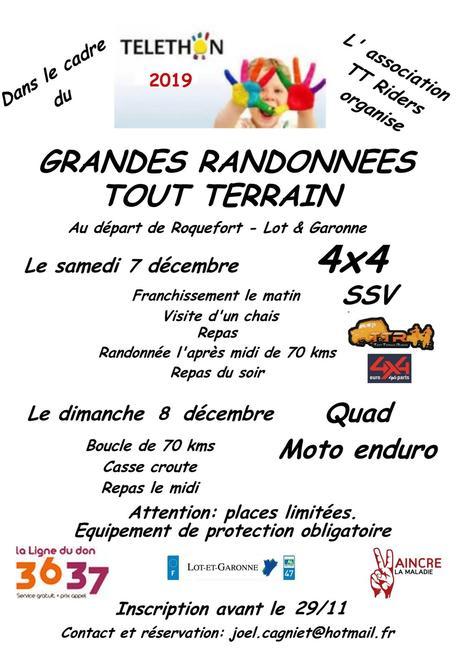 Rando 4X4, quad, moto et SSV Téléthon des TTR à Roquefort (47), le 7 et 8 décembre 2019