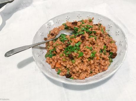 Orge perlé ? – Orzotto végétal aux petits pois et aux tomates séchées