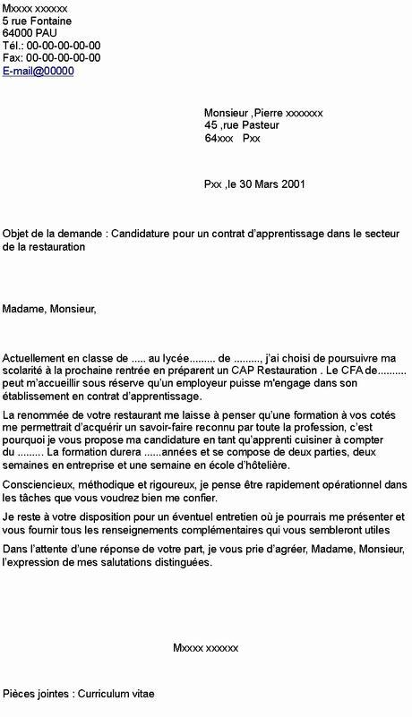 Lettre De Motivation Cap Patisserie Nouveau Contrat ...
