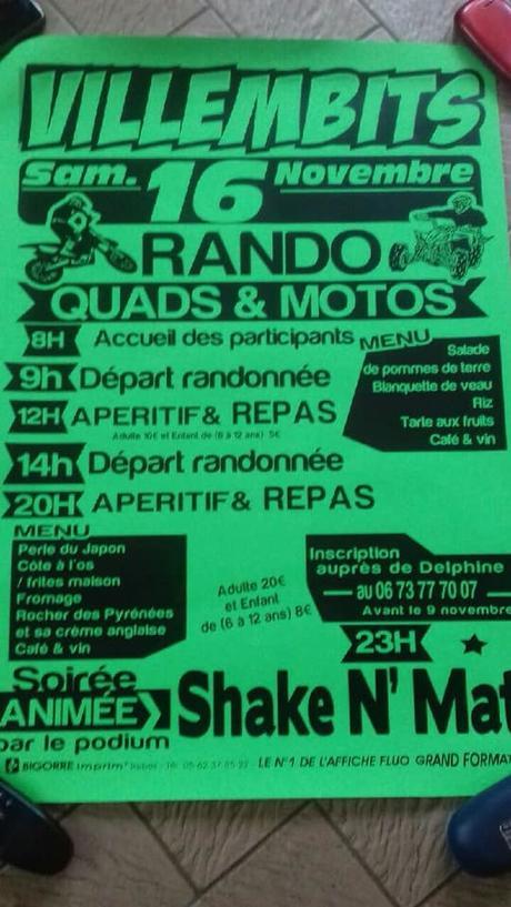 Rando motos et quads du Comité des fêtes de Villembits (65), le 16 novembre 2019