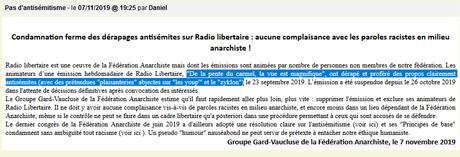 Antisémitisme (encore !?), à Radio Libertaire