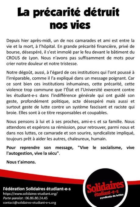 en Macronie, « la précarité détruit nos vies ». Agissons. #pauvreté #anticapitalisme #antifa