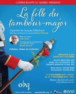 Lucia de Lammermoor à l'Opéra de Montréal, La Fille du tambour-major à l'Opéra bouffe du Québec et le lancement d'Offenbach, mode d'emploi par Louis Bilodeau à Paris