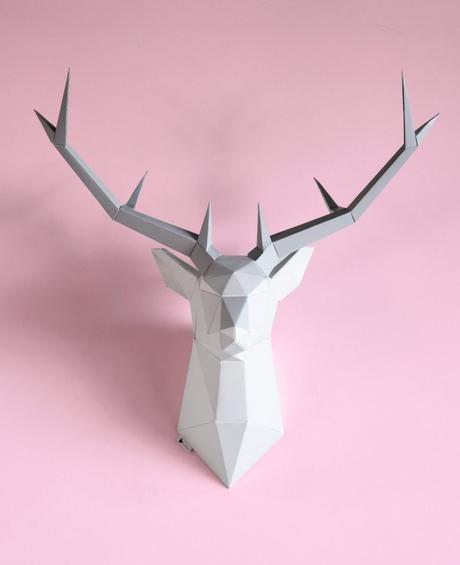 déco noël fait main trophée mural tête de cerf origami