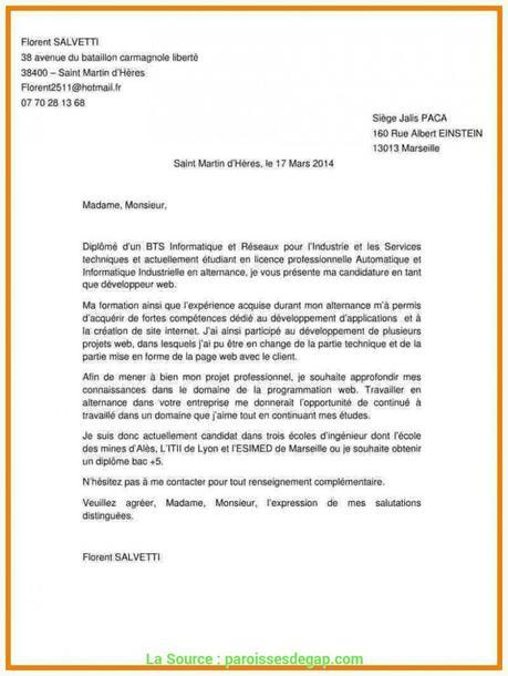 Bien Lettre De Motivation Contrat De Professionnalisation ...