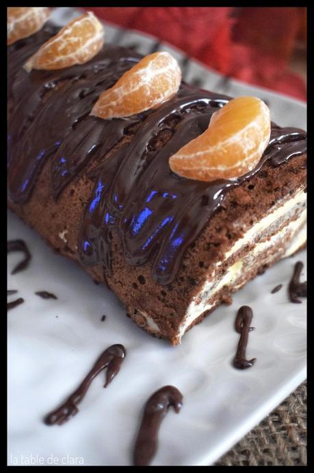 Gâteau roulé chocolat clémentines