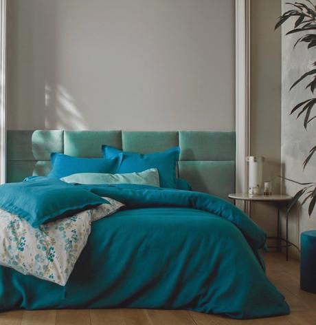 chambre camaieu bleu nuanc céladon lin lin made in france avis - blog deco - clem around the corner