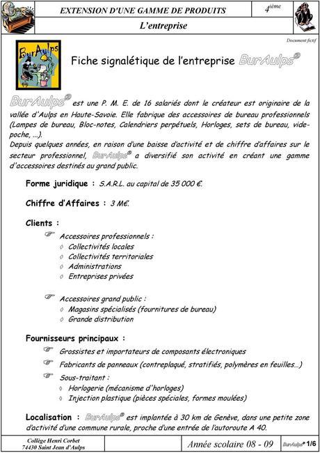 Fiche signalétique de l entreprise - PDF