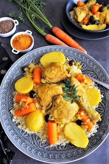 Tajine de poulet aux légumes et olives