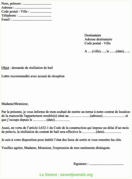 Avancée Modele De Lettre De Resiliation Amiable De Bail ...